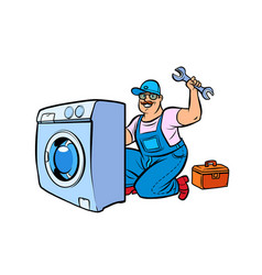 Master repair washing machine vector