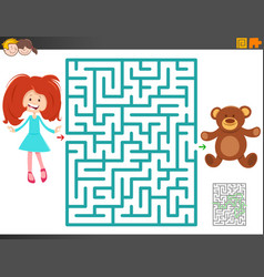 maze game with cartoon girl and teddy bear vector image