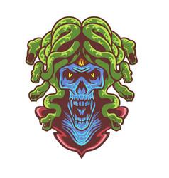 Medusa skull head mascot logo vector
