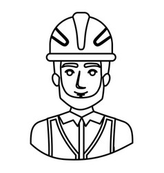 Monochrome contour half body of male bearded vector