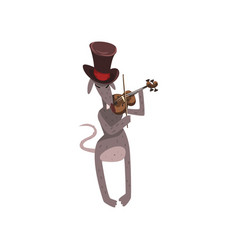 Mouse in top hat playing violin cartoon rodent vector