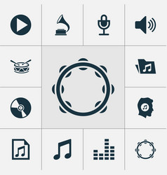 Music icons set collection of phonograph mike vector