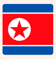 North korea square flag button social media vector