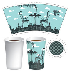 paper cup template with street cafe and coffee cup vector image