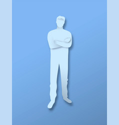 papercut man full body character with arm crossed vector image