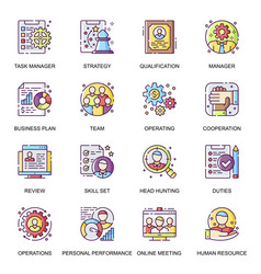 people management flat icons set vector image
