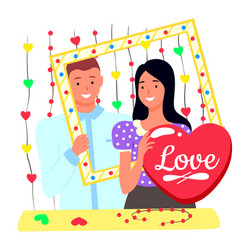 photoshoot lovers romantic day wedding vector image