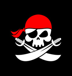 pirate flag skull black banner filibuster head vector image