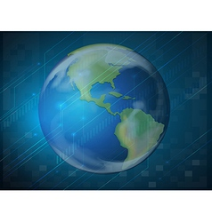 Planet earth on blue background vector image