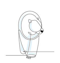 polar bear continuous line vector image