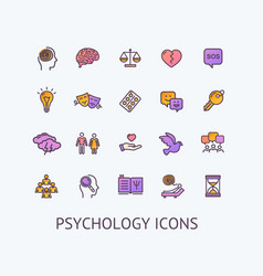 Psychology sign color thin line icon set vector
