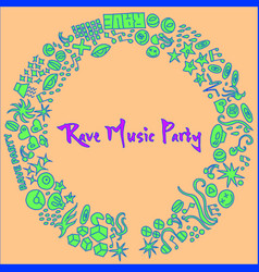 Rave music party event hand-drawn elements vector
