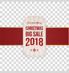 realistic christmas big sale tag with text vector image