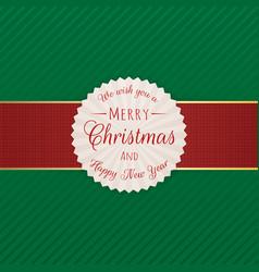 Realistic festive merry christmas emblem vector