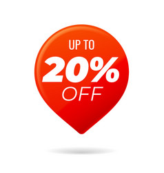 Red pin on white background up to 20 percent off vector