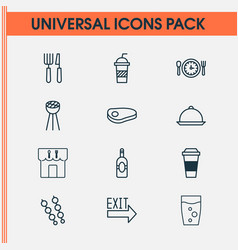 restaurant icons set with cutlery tray exit sign vector image