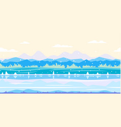 riverbank game background flat landscape vector image