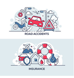 Road accidents and insurance service banner vector