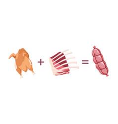 sausage recipe chicken pork and beef sausage vector image