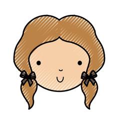 Scribble little girl face vector