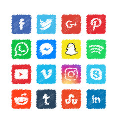 scribble social media icon template design vector image