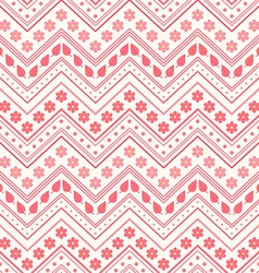 Seamless pattern Red flowers leaves and lines vector image