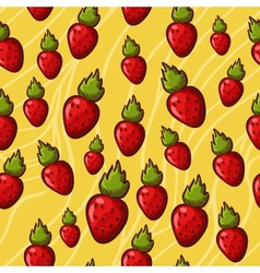 Seamless strawberry background vector image