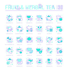 set blue line icons fruit and herbal tea vector image