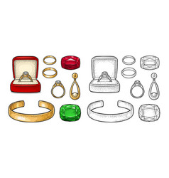 Set jewelry vintage color engraving vector