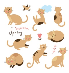 Set of cartoon cute cats vector