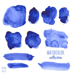 Set of navy blue watercolor texture backgrounds vector
