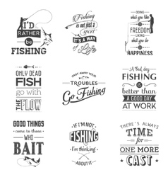 set vintage fishing typographic quotes vector image