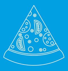 Slice of pizza with ingredients icon outline style vector