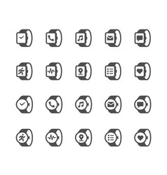 Smart watch glyph icons vector