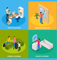 spring cleaning isometric concept vector image
