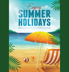 summer holidays with deck chair vector image