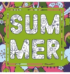 Summer word on colorful background vector image