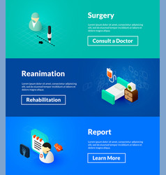Surgery reanimation and report banners of vector