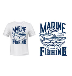 t-shirt print with anchovy fish mascot label vector image