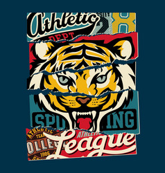 tiger sporting college athletic department vector image