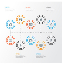 Trade outline icons set collection of id card vector