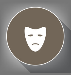 tragedy theatrical masks white icon on vector image