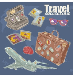 Travel objects collection vector image
