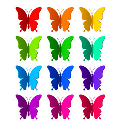 twelve colored paper butterflies vector image