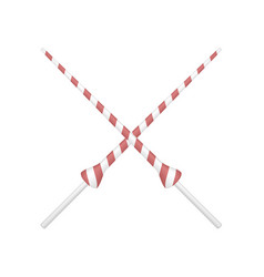 Two crossed lances in red and white design vector