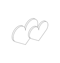 Two hearts icon isometric 3d style vector image