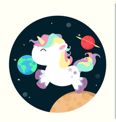 unicorn mini in space vector image