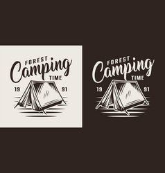 vintage forest camping label vector image