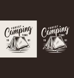 Vintage forest camping label vector