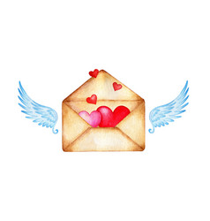 Watercolor of an old yellowed envelope with angel vector